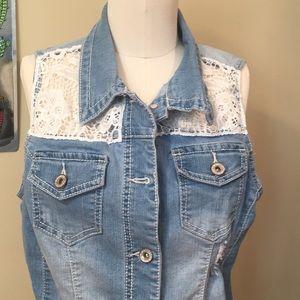 Denim Crochet Vest   Boho Cut Off Jean Vest
